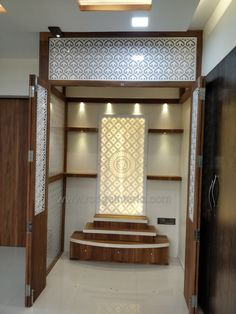 Indian Temple (Mandir) designed Rodge Interio, Complete Turnkey Solutions, use o. Pooja Room Door Design, Room Design Bedroom, Home Room Design, Home Interior Design, Living Room Designs, Interior Designing, Interior Ideas, Temple Room, Amarnath Temple