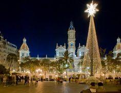 Spanish Christmas Eve.  Plaza del Ayuntamiento en Navidad.  Valencia, Spain.