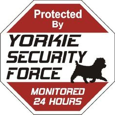 "Amazon.com: Yorkie Dog Yard Sign ""Security Force Yorkie"": Pet Supplies"