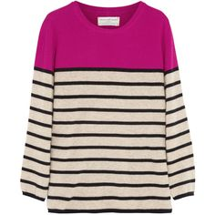 Chinti and Parker Striped cashmere sweater (5 080 UAH) ❤ liked on Polyvore featuring tops, sweaters, shirts, jumpers, knitwear, medium knit, neutrals, stripe shirt, striped shirt and shirts & tops