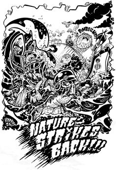 Drawings and inked illustrations by NYCHOS , via Behance
