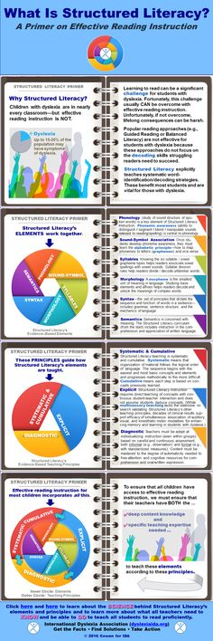 An infographic demonstrating the necessary components for a literacy program that is structured for students with dyslexia