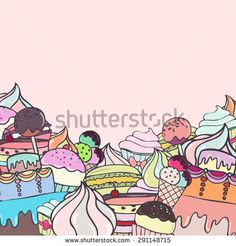 Colorful cakes background. Greeting card template with hand drawn sweets. Vector illustration eps8