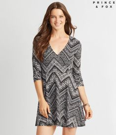 Prince & Fox Printed Wrap Front Fit & Flare Dress