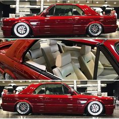 The perfect candy apple red color Bmw Cabrio, Bmw E30 Coupe, Stance Nation, Bmw E30 320i, Bmw E30 Convertible, Jdm, Bmw 740, Europe Car, Nissan