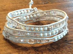 White silver clear bohemian wrap bracelet with stone and glass beads and white leather cord