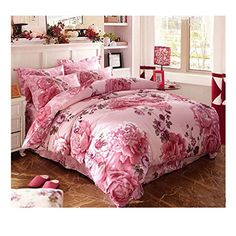 Buy Mumgo Full Queen Size Cotton Colorful Peony Flowers Floral for Girls Printed Duvet Cover Sets(Not Include Comforter or Filling) online! Mirrored Furniture, Furniture Decor, Bed Covers, Duvet Cover Sets, American Flag Wallpaper, Baths Interior, Bedroom Decor For Teen Girls, Pink Bedrooms, Bed Spreads