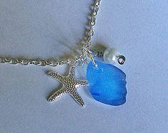 Sea Glass Jewelry Silver Starfish Sea Glass by BlueSailStudios1