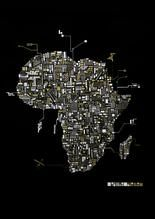 Abstract artwork by Cape Town based visual artist, Shaun Allan Kirk. This piece is a reflection on my home continent. Africa Map, Black Paper, Cartography, Map Art, Cape Town, Circuit, Reflection, Invitations, Abstract