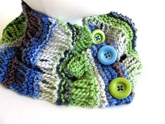 Blue Green Cowl FREE US Shipping by AllAboutTheButtons on Etsy