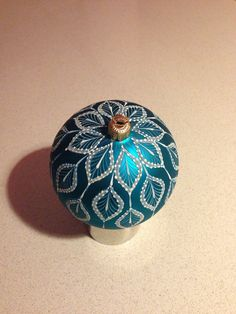 Hand painted Lace Christmas Ornament. Turquoise by HandpaintedLace
