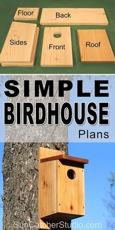 Free simple Birdhouse plans to attract birds to your backyard and garden. This bird house makes a great family project that the kids can help build. Birdhouse Plans SIMPLE Steps with Pictures) Gabriele Heinke gabrieleheinke Bird Feeder Plans, Bird House Feeder, Bird Feeders, Bird House Plans Free, Bird House Kits, Bluebird House Plans, Free Birdhouse Plans, Blue Bird House, Bat House Plans