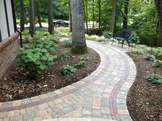 Brick Paver Walkway, Curved Paver Walkway  Walkway and Path  Miller Landscape, Inc.  Orion, MI