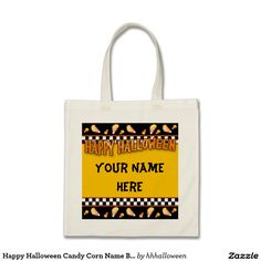 Happy Halloween Candy Corn Name Bag