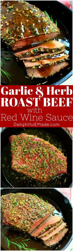 This Garlic Herb Roast Beef is fancy enough for your Christmas dinner, and simple enough for a Sunday supper. Oven roasted with a garlic herb rub, and topped with an amazing red wine sauce, this roast beef recipe is one you'll make all year long! #ad #ALDILove #roastbeef #christmasroast #christmasdinner #roastbeefrecipe