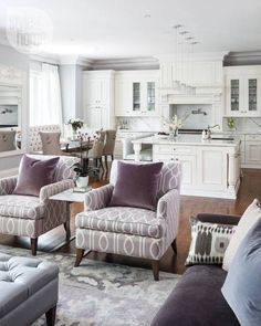 Style at home: white, purple, and light grey open concept kitchen/living room Living Room Kitchen, Living Room Interior, Home Living Room, Living Room Decor, Living Spaces, Dining Room, Small Kitchen Family Room Combo, Dining Tables, Coffee Tables