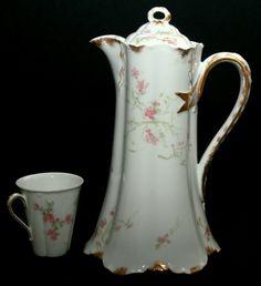 "porcelain chocolate pot, Haviland & Co, Limoges, Pouyat, Cincinnati,Ohio, 10""t | eBay"