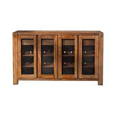 Shasta Salvaged Natural Sideboard with Wine Storage (1,900 BAM) ❤ liked on Polyvore featuring home, furniture, storage & shelves, sideboards, storage furniture, media storage console, home storage furniture, salvage furniture and door furniture