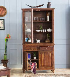 Buy Newnham Crockery Cabinet in Provincial Teak Finish by Woodsworth  Online: Shop from wide range of Hutch Cabinets Online in India at best prices. ✔Free Shipping✔Easy EMI✔Easy Returns