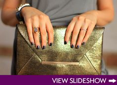 great ring, nails, and gold clutch