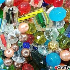 eCrafty's 1 Pound Super Jewelry & Craft Glass Beads Mix Asstd Shapes Colors Bulk Lot
