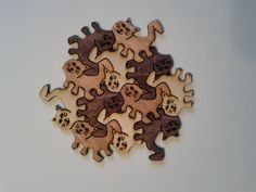 Wooden Tessellation Kitty Puzzle. Tricolor set. One by puzzleguy