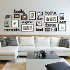 22 Pcs Word Family Is Photo Picture Frame Collage Set Black Home Wall Art Decor 663157248260 Living Room Photos, Home Living Room, Living Room Designs, Living Room Decor, Picture Wall Living Room, Living Room Wall Ideas, Dinning Room Wall Decor, Room Ideas, Photo Wall Decor