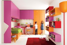 Pink And Orange In Mdoern Kid Bedroom With Bookshelving Also Red Carpet Also White Flooring Tile Also Green Bedcover On Orange Bedstead Also Chair