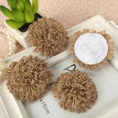 9PCS Natural Jute Burlap Hessian Flower Ball Hat Clothing  Accessorie Craft Rustic Vintage Wedding Party Craft Decor
