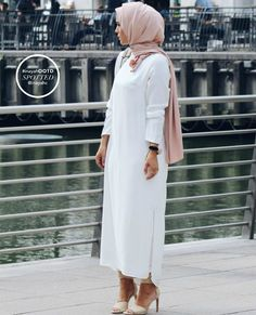 -As seen on Tanyesha White Long Crepe Dress - http://bit.ly/1K3hBPSNude Soft Touch Hijab - http://bit.ly/1hJBTCWwww.inayahcollection.com