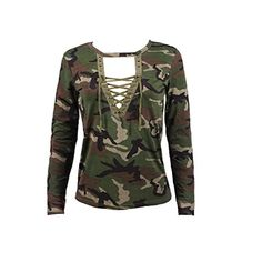 6fa9caf3 Gillberry Women Long Sleeve Shirt Slim Blouse Camouflage Print Tops at Amazon  Women's Clothing store: