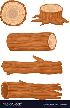 Cartoon Wooden log collection vector image on VectorStock Log Drawing, Inkscape Tutorials, Kids Background, Retro Logos, Vintage Typography, Environmental Art, Game Art, Concept Art, Canvas Art