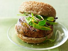 Tuna Burgers with Carrot-Ginger Sauce Recipe : Tyler Florence : Food Network (summer) Tuna Recipes, Grilling Recipes, Sauce Recipes, Seafood Recipes, Cooking Recipes, Cooking Food, Seafood Dishes, Dinner Recipes, Healthy Grilling