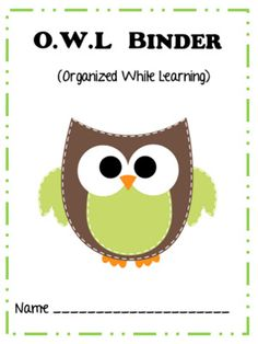 Falling Into First OWL Binder Freebie