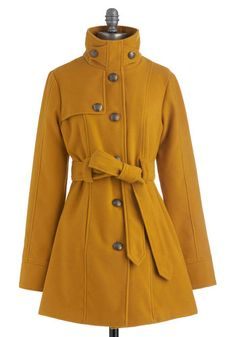 South Bank Stroll Coat in Goldenrod. With Audrey's classic black turtleneck, skinny pants and ballet flats, you'll channel her style today. #styleicon and #modcloth.