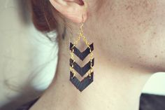 Gold Chevron Dangles by mooreaseal on Etsy