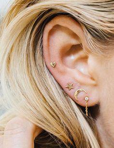 Chicnico Minimalist Moon Star Heart Style Earrings Set