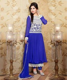 Blue Semi Stitched Georgette Anarkali Salwar Suit