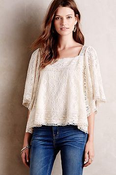 Burano Lace Peasant Top #anthropologie
