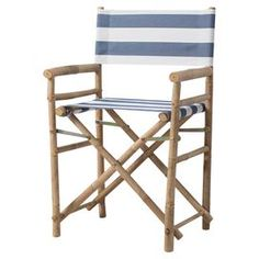"""Showcasing a bamboo frame and fabric seat, this handmade arm chair is perfect in your three-season porch or pulled up to your breakfast table.   Product: Set of 2 chairsConstruction Material: Bamboo and polyesterColor: Navy and whiteFeatures: Eco-friendlyStripe motif Handmade   Dimensions: 35.43"""" H x 18.11"""" W x 22.83"""" D"""