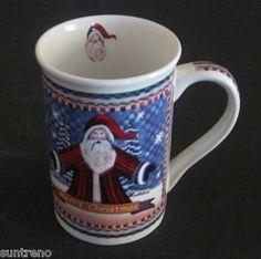 Folk Art Merry Christmas Santa Ceramic Coffee cup Mug 12 ounce