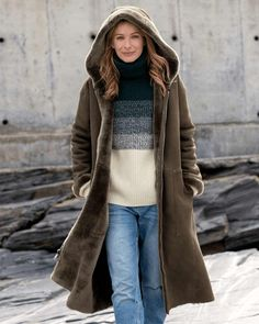 【Clearance Sale💥Shipped Within 24h】Hooded Toscana Coat - inkshe.com Cardigans For Women, Coats For Women, Clothes For Women, Women's Cardigans, Parka, Sheepskin Coat, Cardigan Fashion, Winter Fashion Outfits, Outerwear Women