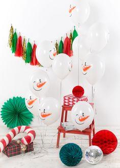 """Воздушный латексный шар с принтом """"Снеговик"""", 30 см"""