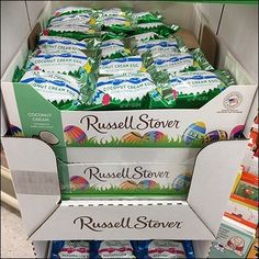 Holiday fun and tastiness is offered to all passersby via this Russell Stover Easter Egg Corrugated Tower. Flavors vary by level, with multiple cartons. Russell Stover, Coconut Cream, Holiday Fun, Easter Eggs, Signage, Tower, Candy, Coconut Custard, Sweet
