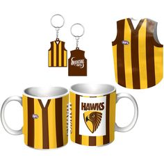 Hawthorn Hawks Guernsey Giftpack.  This Great Pack Features Guernsey Design Mug, Keyring, & Stubby Cooler.  To see the full range of AFL merch, visit www.shop.afl.com.au