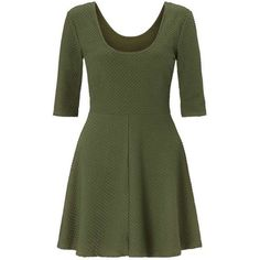 Miss Selfridge Khaki Textured Skater Dress ($44) ❤ liked on Polyvore featuring dresses, khaki, three quarter sleeve dress, scoop-neck dresses, 3/4 sleeve dress, 3/4 sleeve skater dress and scoop neckline dress