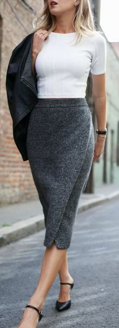 Long, gray-tweed knit pencil skirt with a fitted, short sleeve, white sweater