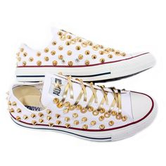 Summer SALE Studded Converse GOLD stud converse low with custom design... ($95) ❤ liked on Polyvore featuring shoes, sneakers, converse, sapatos, vintage shoes, white trainers, vintage sneakers, studded shoes and converse shoes