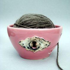 Lock and Key Pink Yarn Bowl  Steampunk  Hand by alinahayesceramics, $39.00