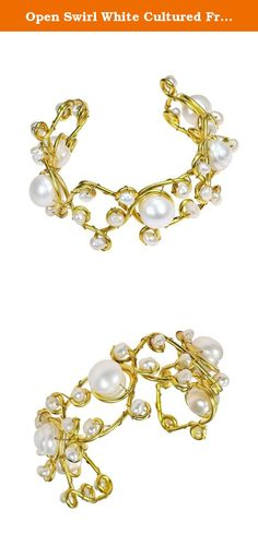 Open Swirl White Cultured Freshwater Pearls Brass Bracelet Cuff. Enjoy the exotic allure of these trendy handmade bracelets. Created by AeraVida artisans, these chic cuffs feature cultured freshwater pearls in different sizes layered onto brass metal. Each bracelet has an adjustable open-ended cuff that makes it easy to slide off and on. PLEASE NOTE: The handcrafted nature of this product will produce minor differences in design, sizing and weight. Variations will occur from piece to…
